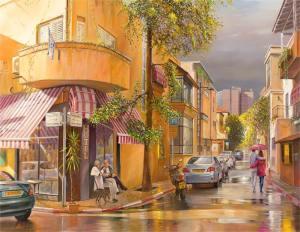 Blissful rain is finally in Tel Aviv, Painting by Alex Levin