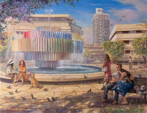 Enjoying life in Tel Aviv, Painting by Alex Levin