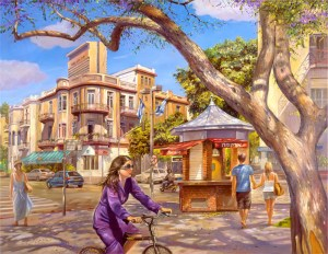 Lazy Morning on Rothschild's Street,Tel Aviv, Painting by Alex Levin