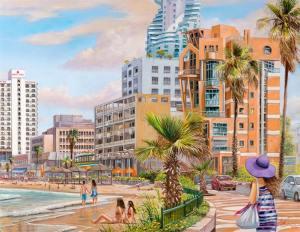 Sunny beach of Tel Aviv, Painting by Alex Levin