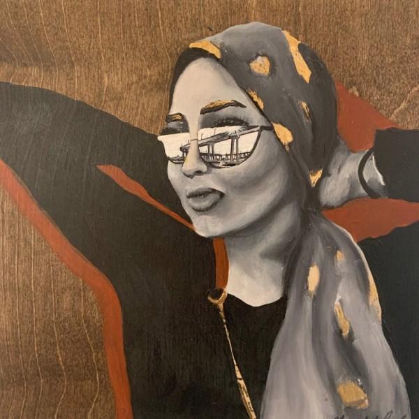 Acrylic painting on wood of woman looking at Coronado Bridge in San Diego
