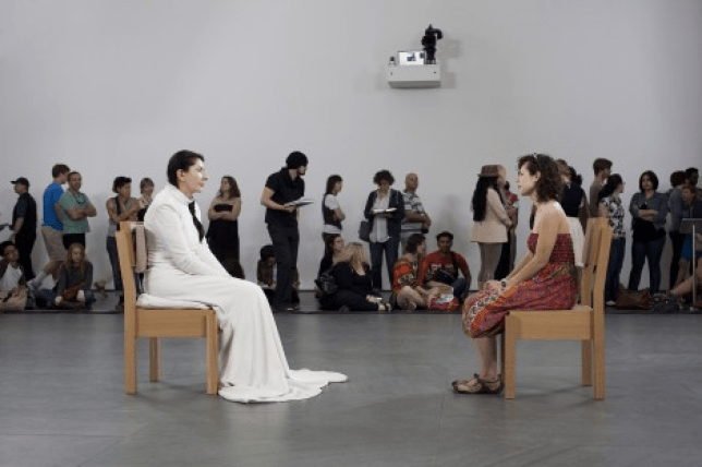 Marina Abramovic's contemporary performance at the MoMA.