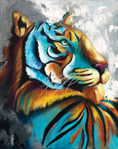 Vibrant painting of a Tiger in blue, orange, black, gray and white