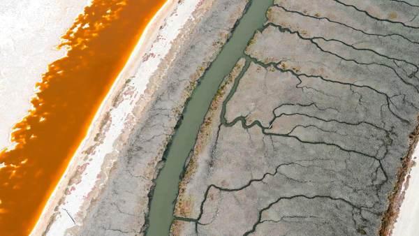 Fine art aerial photography of salt flats in San Francisco Bay