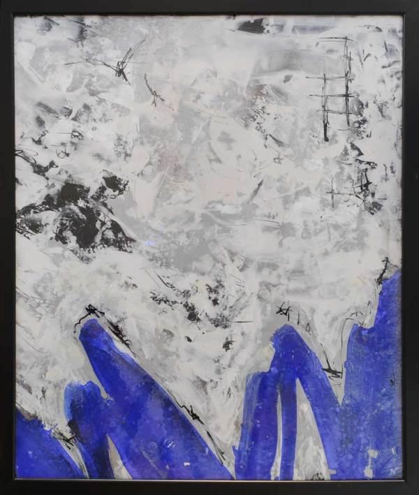 blue, white and black abstract art by Yandi Monardo