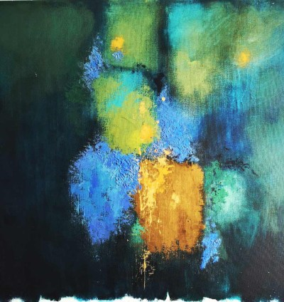 Impressionist painting of streetlights on a raining evening by artist Libuse Wiesendanger