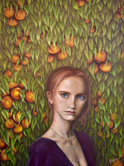 Painting featuring a beautiful woman in front of a bountiful peach tree