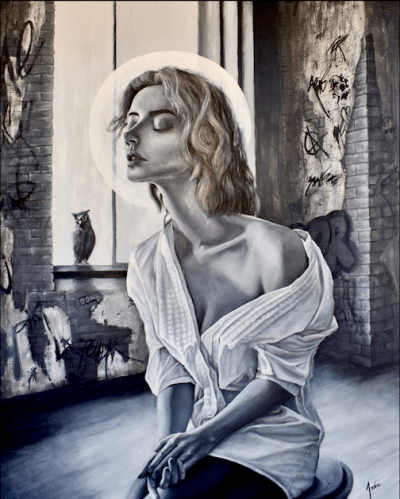 Oil painting in black and white featuring a meditating woman
