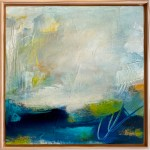 Blue, green, gray and yellow abstract art.