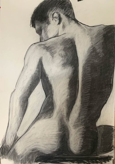 Charcoal and chalk sketch of nude male from behind