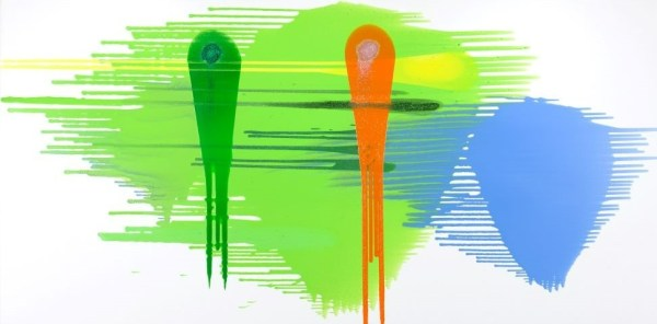 Abstract fine art in lime green, yellow, blue and orange