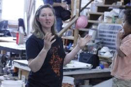 Artist Margaret Boozer at Red Dirt Studio during the Gateway Community Development Corporation Open Studios Tour