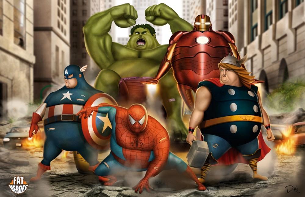 Fat Heroes Avengers by Carlos Dattoli