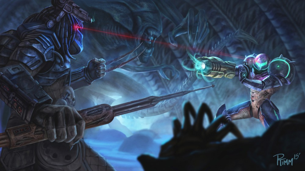Samus vs Predator by Andy Timm
