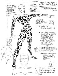 "Character design/style sheet for DC Comics character ""Lady Quark"""