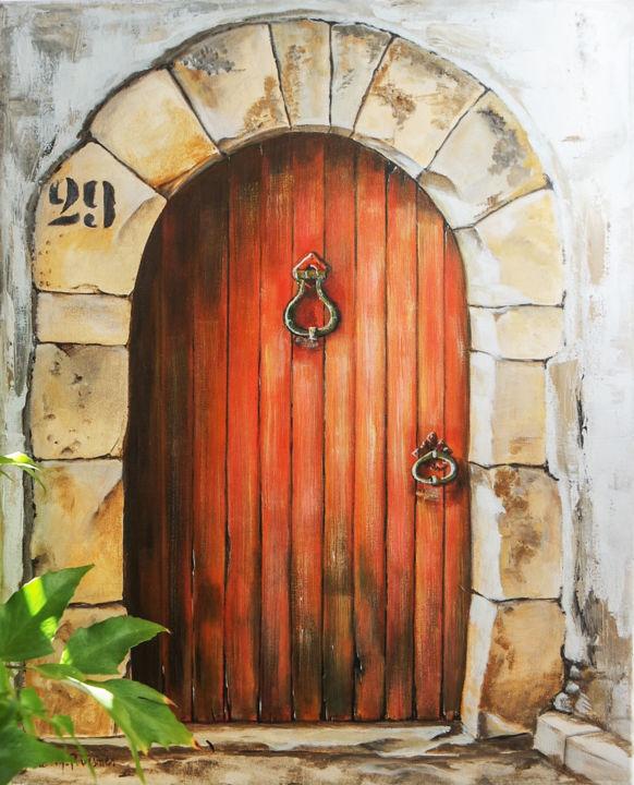 Peinture En Trompe L Oeil : peinture, trompe, Porte, Rouge, Patinée, Trompe, L'oeil, Painting, Sylvie, Mailhe, Poursines, Artmajeur