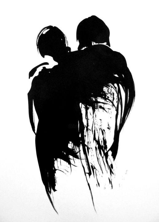 Couple Noir Et Blanc : couple, blanc, Couple, Drawing, Sylvia, Baldeva, Artmajeur