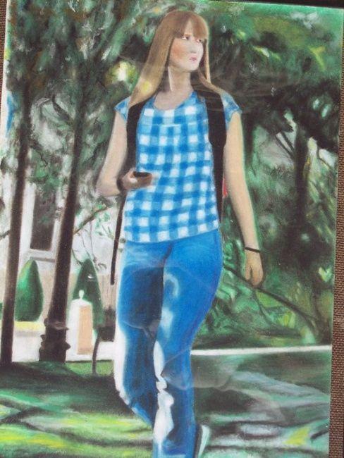 La Fille Dans Le Parc : fille, Jeune, Fille, Drawing, Artmajeur
