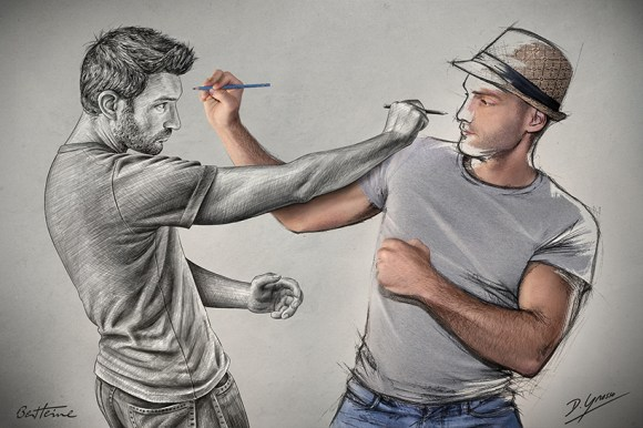 Artists Ben Heine and Sebastien Del Grosso - Sketch Fight