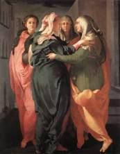 Jacopo Pontormo: Mária és Erzsébet találkozása, 1528-29, San Michele, Firenze