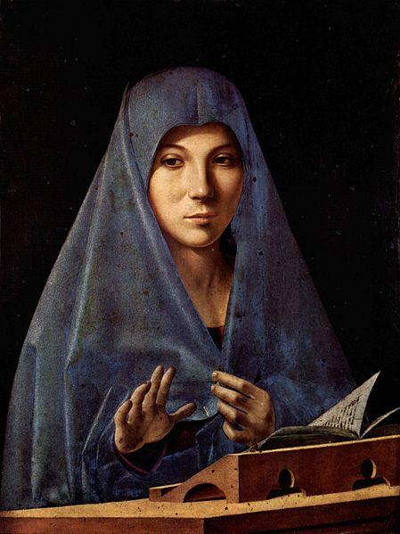 Antonello da Messina: Az angyali üdvözlet Máriája, 1475