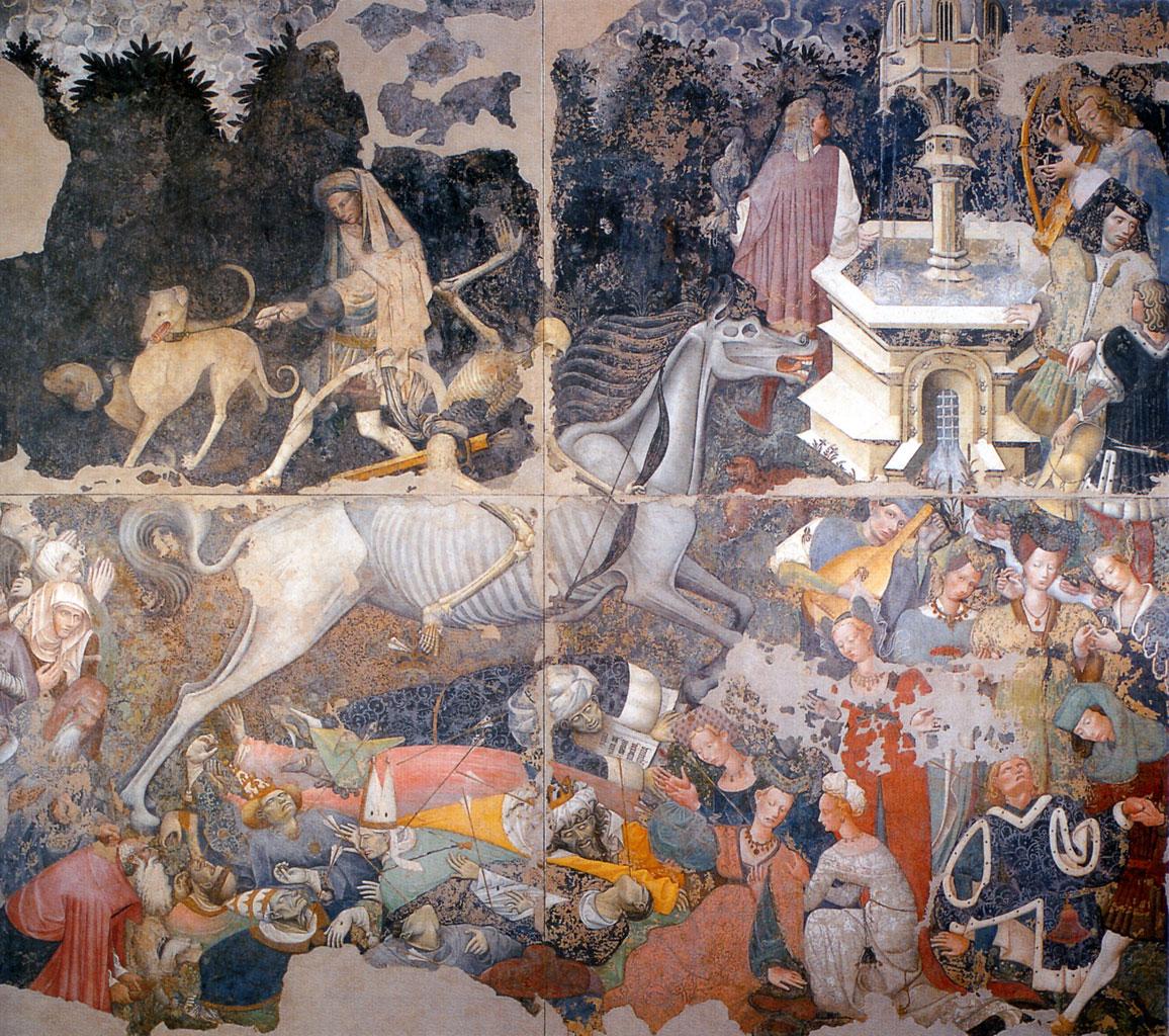 Maestro anonimo,Il trionfo della morte,1446 circa.Affresco staccato 600 cm×642cm. Palermo, Galleria regionale di Palazzo Abatellis.