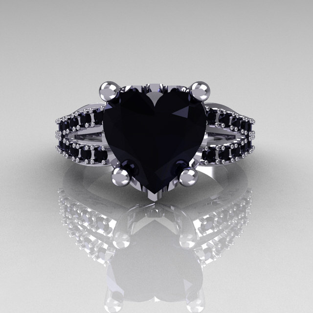 Modern French Bridal 18K White Gold 30 Carat Heart Black Diamond Solitaire Engagement Ring R134