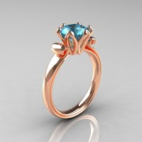 Modern Antique 14K Rose Gold 1.5 Carat Aquamarine ...