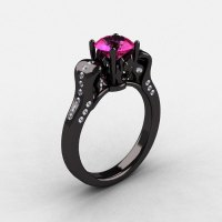 14K Black Gold Pink Sapphire Diamond Wedding Ring