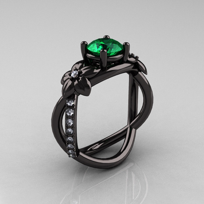 Designer Classic 18K Black Gold 1.0 CT Emerald Diamond