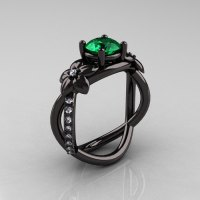 Designer Classic 18K Black Gold 1.0 CT Emerald Diamond