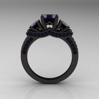 French 14K Black Gold Three Stone Dark Blue Sapphire ...