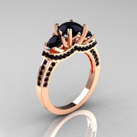 French 18K Rose Gold Three Stone Black Diamond Wedding ...