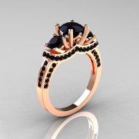 French 18K Rose Gold Three Stone Black Diamond Wedding ...