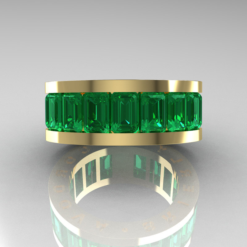Mens Modern 14K Yellow Gold Emerald Channel Cluster