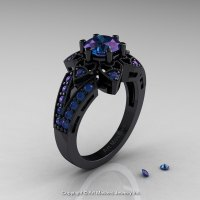 Art Deco 14K Black Gold 1.0 Ct Alexandrite Wedding Ring ...