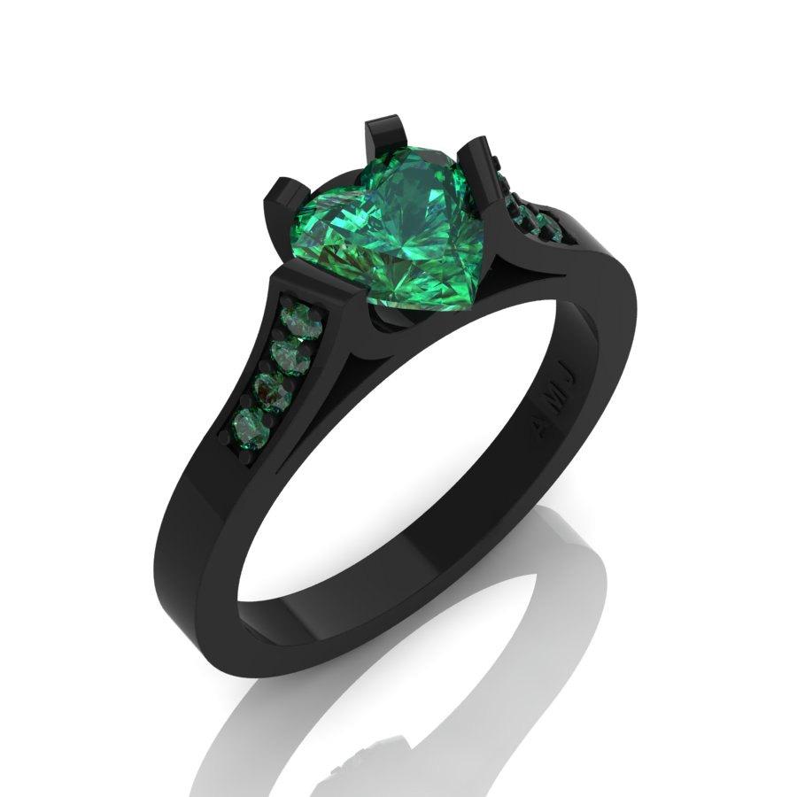 Gorgeous 14K Black Gold 1.0 Ct Heart Emerald Modern