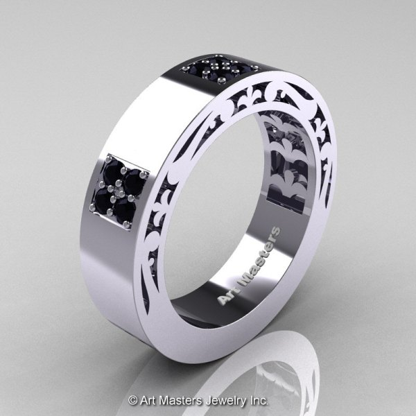 Black White Gold Men's Wedding Bands