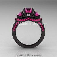 French 14K Black Gold Three Stone Pink Sapphire Engagement ...