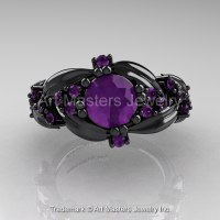 Nature Classic 14K Black Gold 1.0 Ct Amethyst Leaf and ...