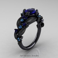 Nature Classic 14K Black Gold 1.0 Ct Blue Sapphire Blue