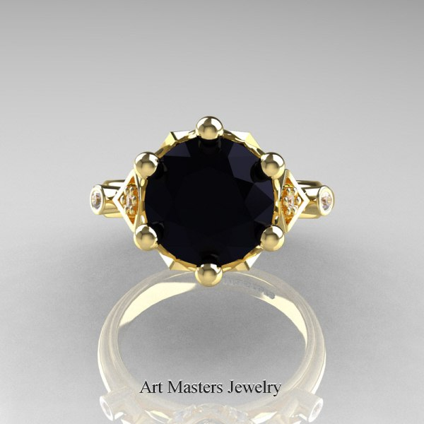 Modern Antique 14k Yellow Gold 3.0 Carat Black And White Diamond Solitaire Wedding Ring R514