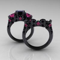 Designer Classic 14K Black Gold Three Stone Princess Black ...