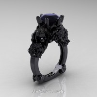 Love and Sorrow 14K Black Gold 3.0 Ct Black Diamond Skull