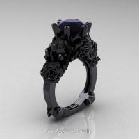 Love and Sorrow 14K Black Gold 3.0 Ct Black Diamond Skull ...