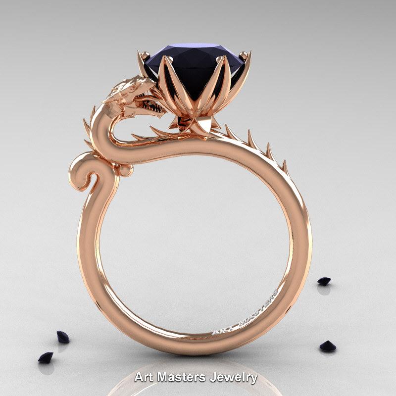 Art Masters 14K Rose Gold 3.0 Ct Black Diamond Dragon