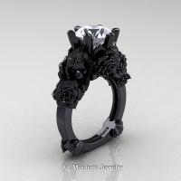 Love and Sorrow 14K Black Gold 3.0 Ct White Sapphire Skull ...