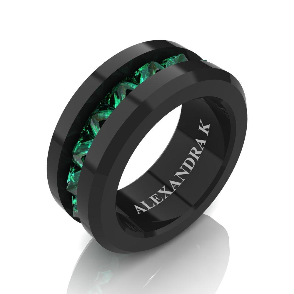 Mens Modern 14K Black Gold Inverted Princess Emerald