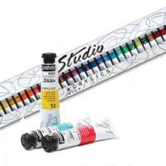 P-833441 Набор акриловых красок 40х20 мл (с кистью) Studio Pebeo картонная коробка