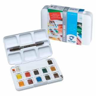 Набор акварельных красок Van Gogh 12 цветов кювета (с кистью) Pocket box Royal Talens